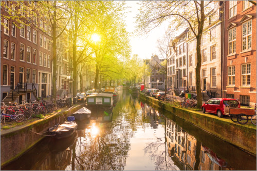 Plakat Sunrise in the Amsterdam canals