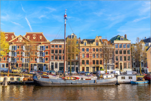 Plakat Amsterdam canal with boats