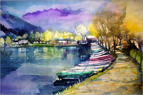 Plakat Fishing boats in autumn, Zell am See