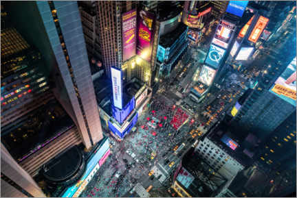 Akrylbilde  Aerial view of Times Square in New York - Mike Centioli