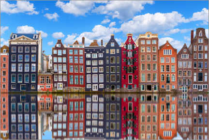 Akrylbilde  Houses are reflected on the canal, Amsterdam - George Pachantouris