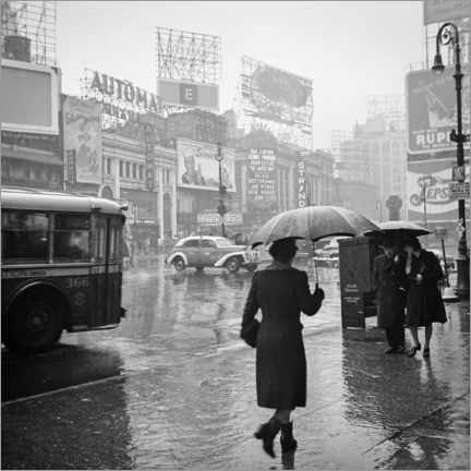 Plakat Times Square on a rainy day in 1944