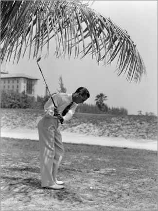 Plakat Golfers under palm trees in Florida, 1930s