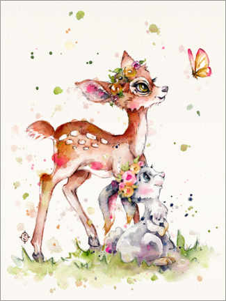 Plakat  Fawn and bunny - Sillier Than Sally