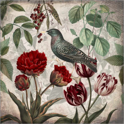 Akrylbilde  Vintage starling with tulips - Andrea Haase