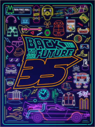 Plakat  Back to the future - neon items