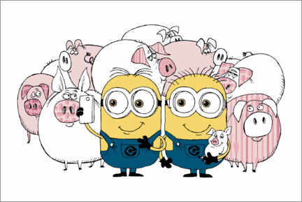 Plakat  Minions - Selfie with pigs