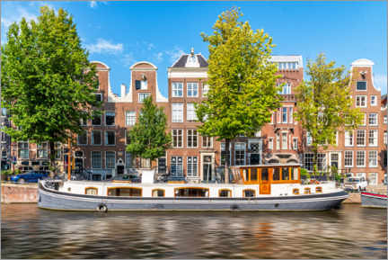 Plakat Architecture and boat in the canals of Amsterdam
