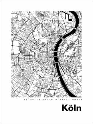 Selvklebende plakat  City map of Cologne - 44spaces