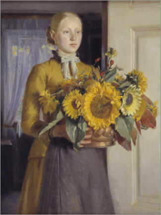 Plakat  The girl with the sunflowers - Michael Peter Ancher