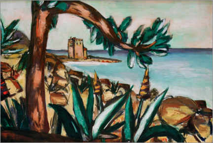 Galleriprint  Seascape with an old castle and agaves - Max Beckmann