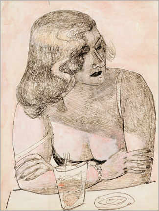 Akrylbilde  Young woman with glass - Max Beckmann