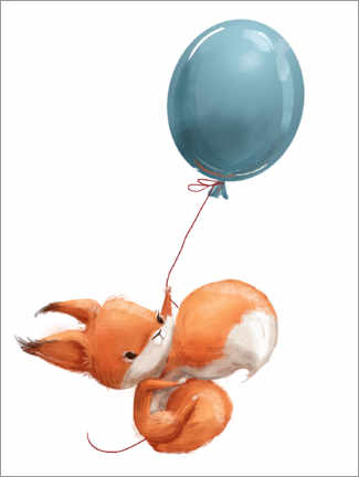 Aluminiumsbilde  Red squirrel with balloon - Eve Farb