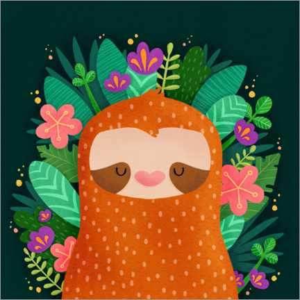Plakat Sloth with flowers
