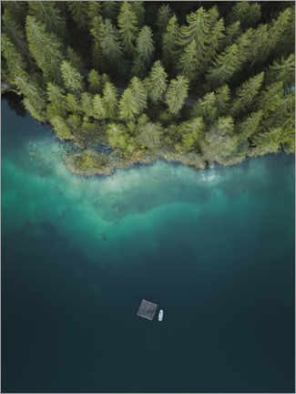 Akrylbilde  Forest by the lake from above - Lukas Saalfrank