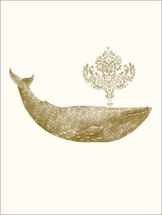 Plakat  The Damask Whale - gold option - Terry Fan