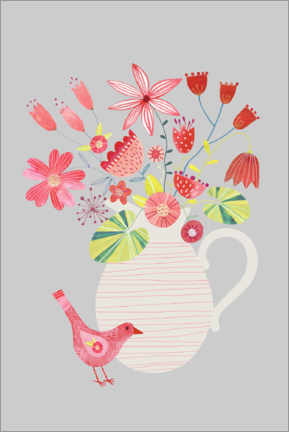 Plakat Bird with a Jug of Flowers