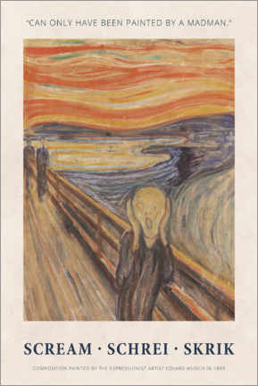 Galleriprint  Edvard Munch - The Scream - Painted by a madman - Museum Art Edition