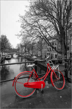 Akrylbilde  Red bicycle on the canal, Amsterdam - George Pachantouris