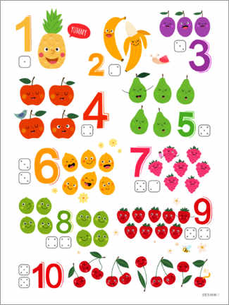 Galleriprint  Learning numbers with cheeky fruits - Heyduda
