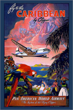 Akrylbilde  Fly to Caribbean by clipper - Travel Collection