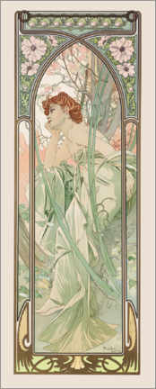 Akrylbilde  Times of the Day - Evening Contemplation - Alfons Mucha