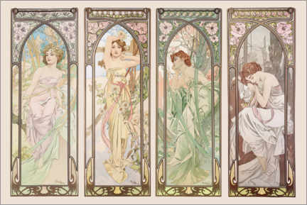 Akrylbilde  Times of the day - Alfons Mucha