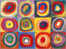 Selvklebende plakat  Colour study - squares and concentric rings - Wassily Kandinsky