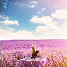 Galleriprint  Red wine bottle and wine glass in lavender field