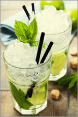 Selvklebende plakat  Mojito cocktail with ingredients