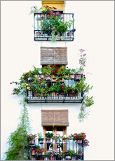 Selvklebende plakat  Facade with balconies full of flowers in Valencia