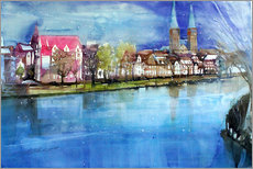 Galleriprint  Lübeck, painter angle with cathedral - Johann Pickl