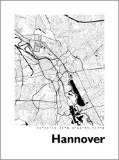 Selvklebende plakat  City map of Hannover - 44spaces