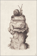 Akrylbilde  The frog and the snail, vintage - Mike Koubou