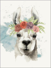Plakat Lama with flower crown I