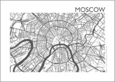 Aluminiumsbilde  City map of Moscow - 44spaces