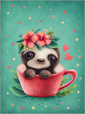 Plakat Sweet sloth in a cup