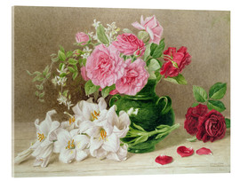 Akrylbilde  Roses and lilies - Mary Elizabeth Duffield
