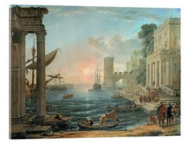 Akrylbilde  Seaport with the Embarkation of the Queen of Sheba - Claude Lorrain