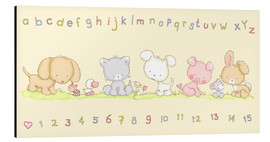 Aluminiumsbilde  baby pet animals with alphabet and numbers - Fluffy Feelings