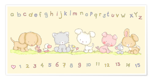 Plakat baby pet animals with alphabet and numbers