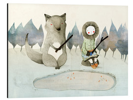 Aluminiumsbilde  The little Inuit girl and the wolf - Judith Loske