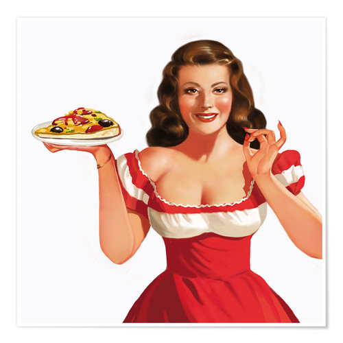Plakat the girl with a pizza