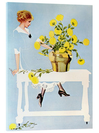 Akrylbilde  Housekeeper with bouquet - Clarence Coles Phillips