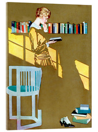 Akrylbilde  Reading in front of the bookshelf - Clarence Coles Phillips