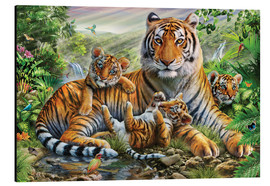 Aluminiumsbilde  Tiger and Cubs - Adrian Chesterman