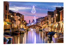 Akrylbilde  Canal in Venice at Christmas - Matteo Colombo