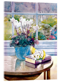 Akrylbilde  Flowers and book on table - Julia Rowntree