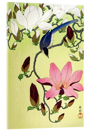 Akrylbilde  Magpie with Pink and White Magnolia Blossoms - Ohara Koson