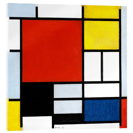 Akrylbilde  Composition with Large Red Plane, Yellow, Black, Gray and Blue - Piet Mondriaan